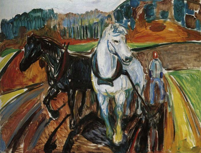 Horse Team, Oil On Canvas by Edvard Munch (1863-1944, Sweden)