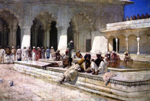 Edwin Lord Weeks - The Hour of Prayer at Moti Mushid (The Pearl Mosque), Agra