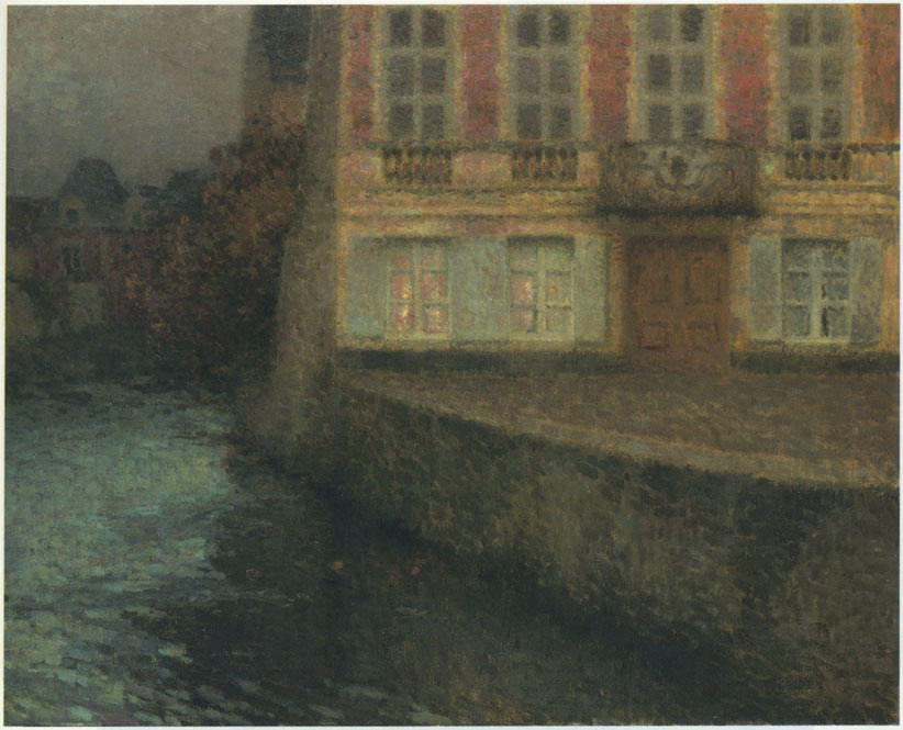 House by the Quentin Canal, Oil On Canvas by Henri Eugène Augustin Le Sidaner (1862-1939, Mauritius)