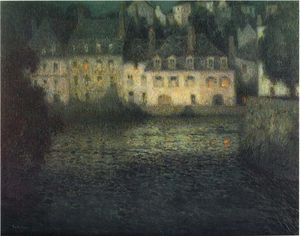 Henri Eugène Augustin Le Sidaner - House by the river in full moon