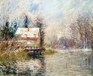 Gustave Loiseau - House by the Water, Snow Effect