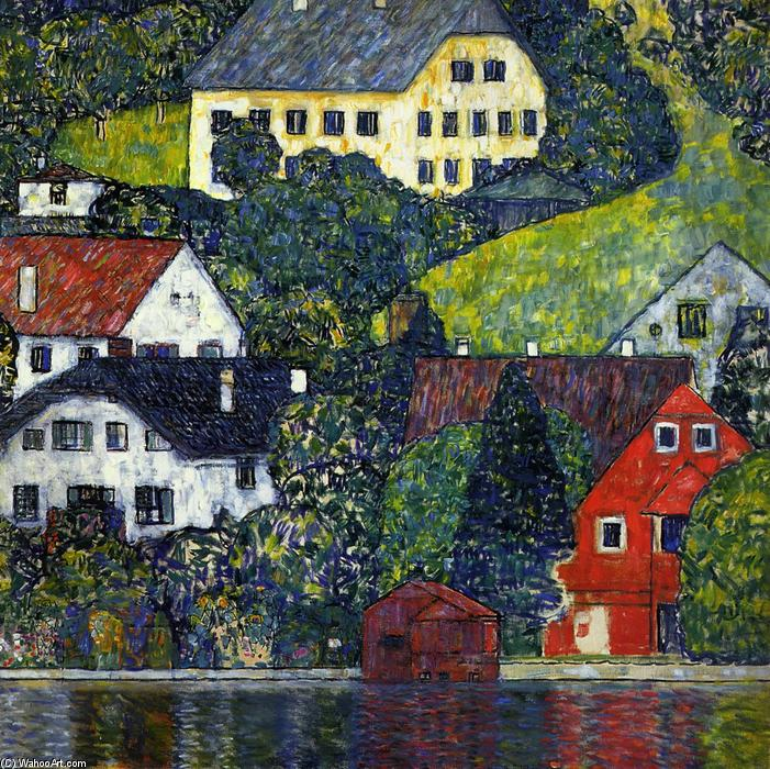 Houses at Unterach on the Attersee, Oil On Canvas by Gustav Klimt (1862-1918, Austria)