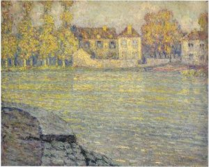 Henri Eugène Augustin Le Sidaner - Houses by the river at sunset