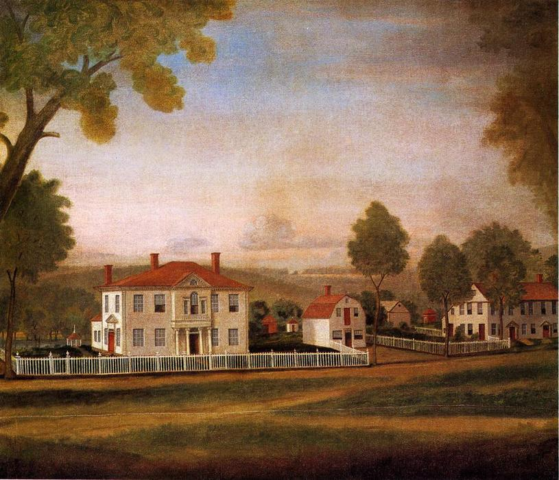 Houses Fronting New Milford Green, 1796 by Ralph Earl (1751-1801, United States) | Famous Paintings Reproductions | WahooArt.com