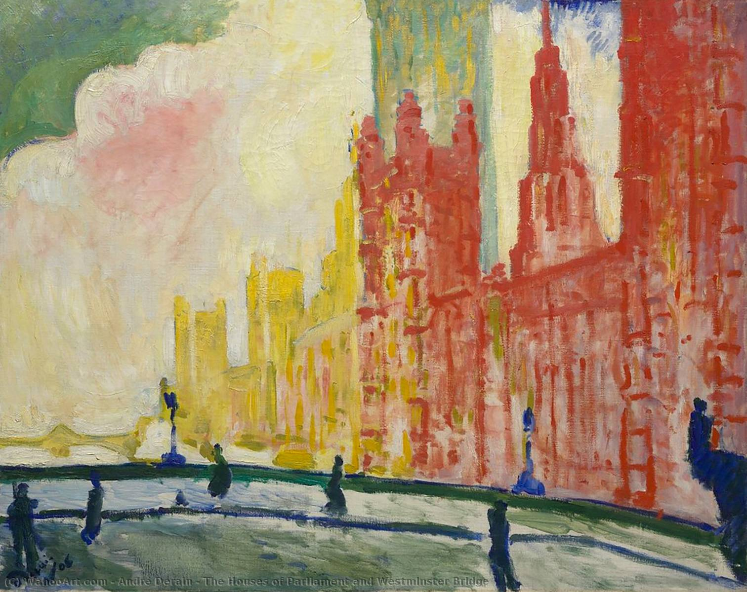 The Houses of Parliament and Westminster Bridge, 1906 by André Derain (1880-1954, France) | WahooArt.com