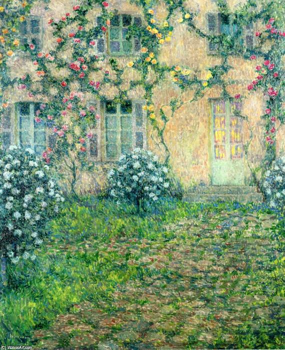House with Roses, Oil On Canvas by Henri Eugène Augustin Le Sidaner (1862-1939, Mauritius)