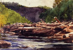 Winslow Homer - Hudson River at Blue Ledge, Essex County (also known as The Log Jam)