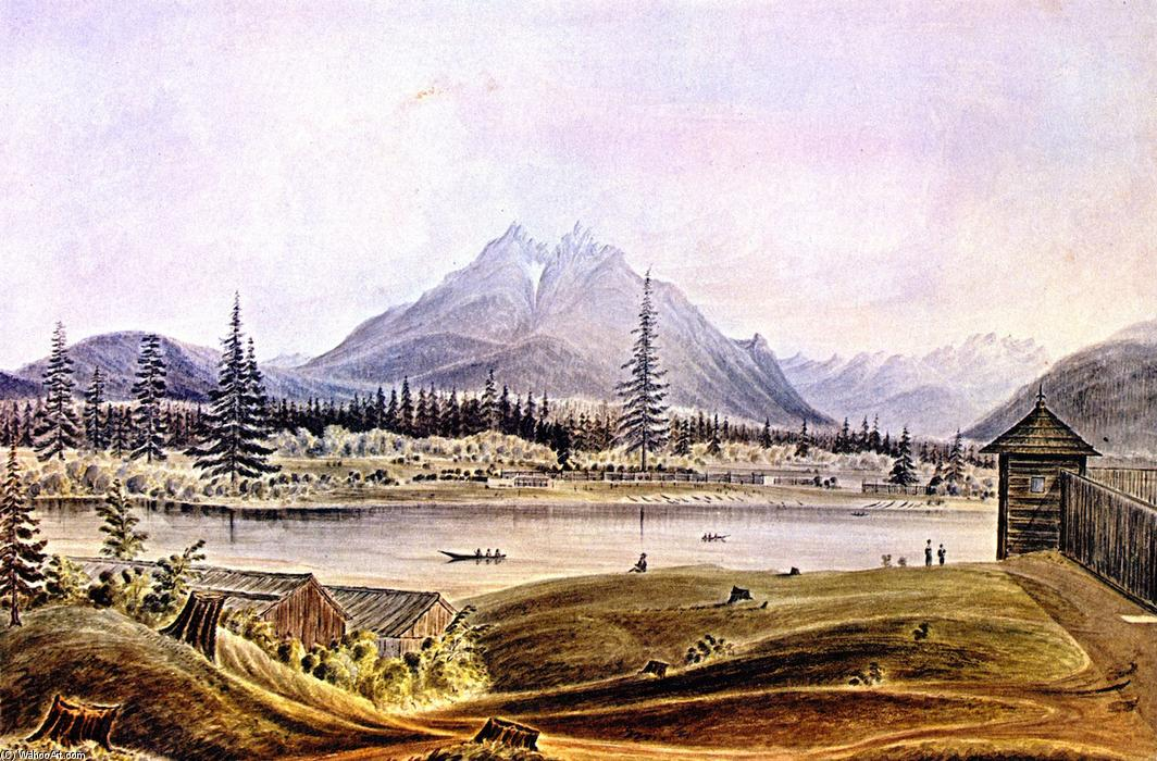 Hudson's Bay Company Fort Langley, Left Bank of Fraser River, Langley Butte in the Distance, Watercolour by James Madison Alden (1834-1922, United States)