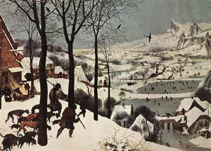 Pieter Bruegel The Elder - The Hunters in the Snow (Winter) - (Famous paintings reproduction)