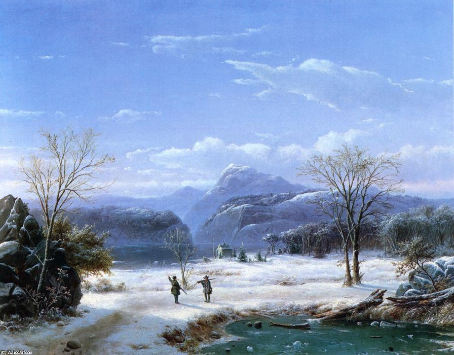 Hunters in a Winter Landscape, Oil On Canvas by Louis Remy Mignot (1831-1870, United States)