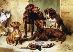 Carl Reichert - Hunting dogs with prey