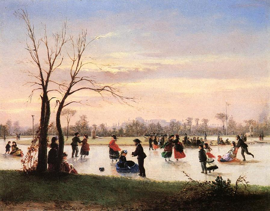 Ice Skating at Twilight by Conrad Wise Chapman (1842-1910, United States) | Oil Painting | WahooArt.com