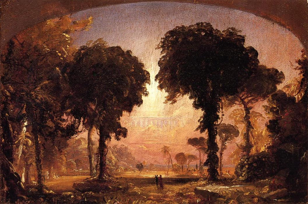 Ideal Landscape: Homage to Thomas Cole, 1850 by Jasper Francis Cropsey (1823-1900, United States) | WahooArt.com