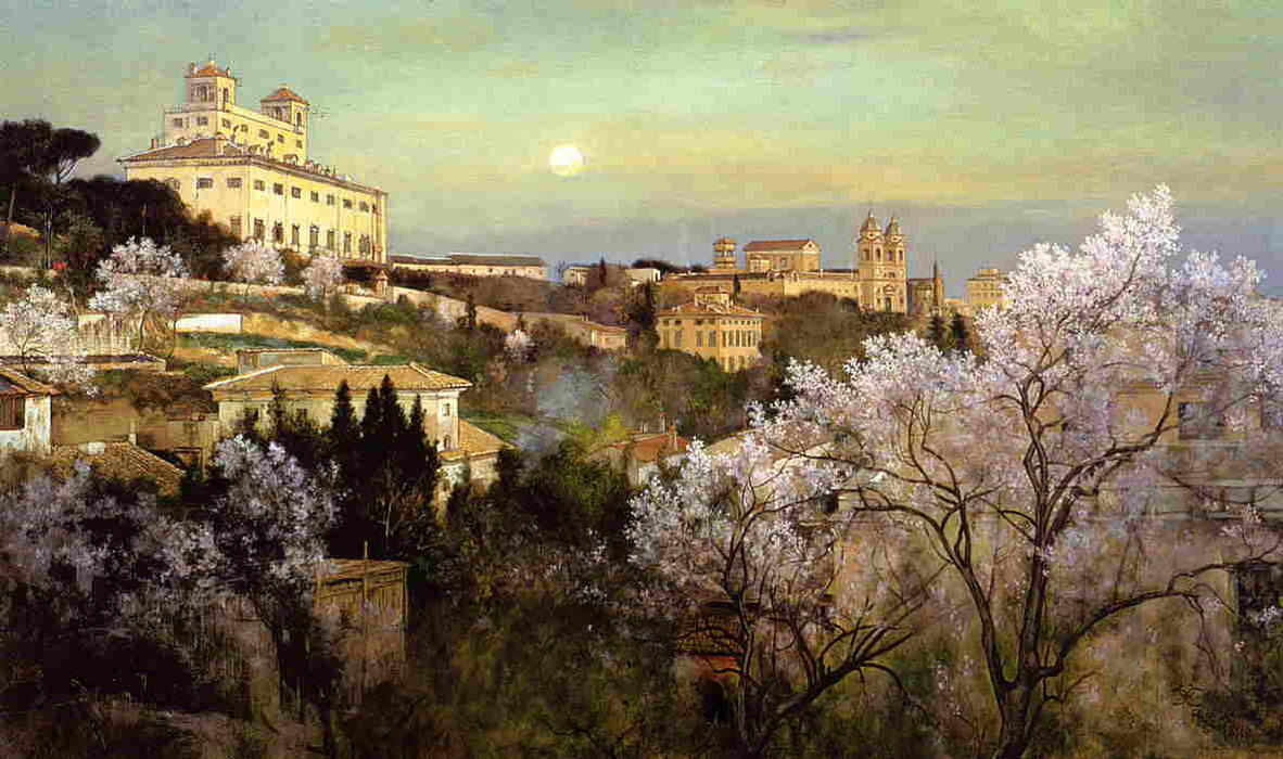 Il Pincio with a View of Villa Medici, Oil On Canvas by Charles Caryl Coleman (1840-1928, United States)