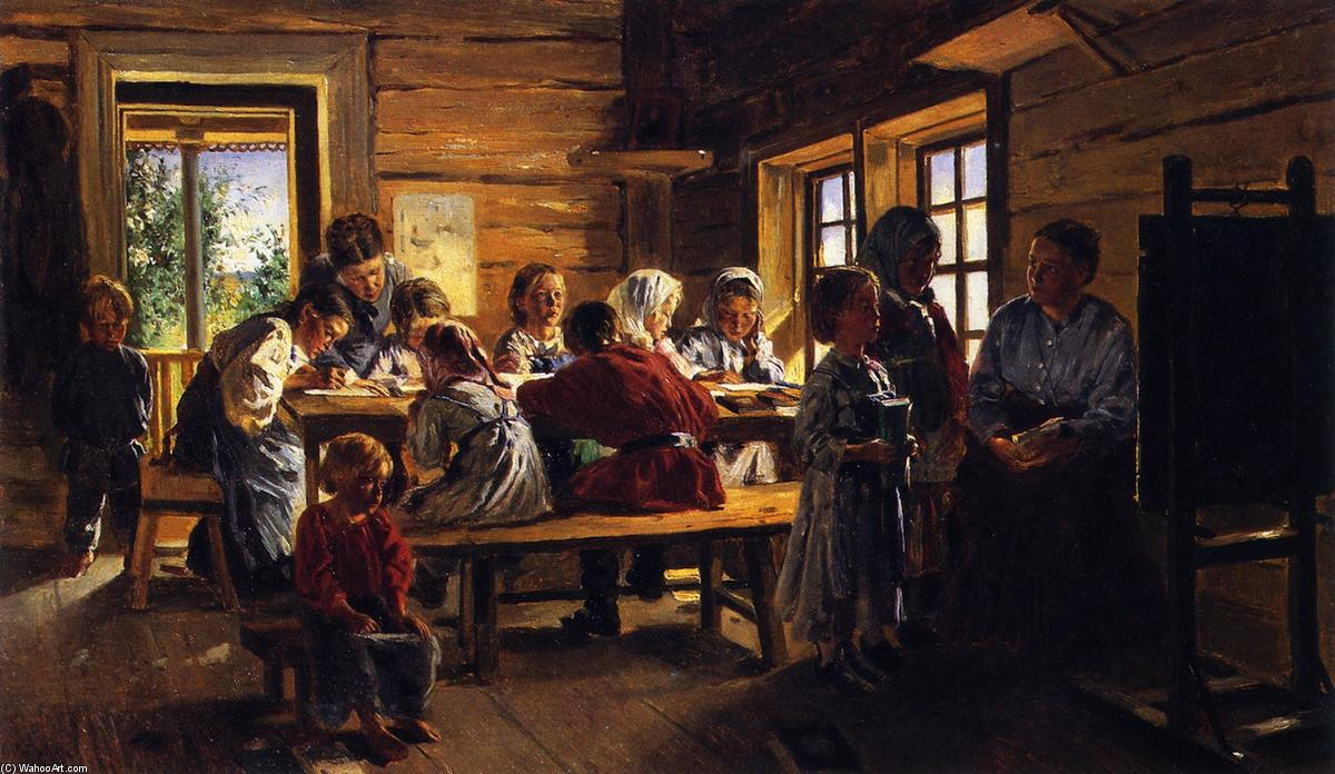 Buy Museum Art Reproductions | In a Country School, 1883 by Vladimir Yegorovich Makovsky (1846-1920, Russia) | WahooArt.com