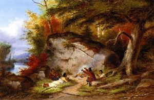 Cornelius David Krieghoff - Indian Campfire at Big Rock