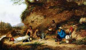 Cornelius David Krieghoff - Indian Encampment at Big Rock