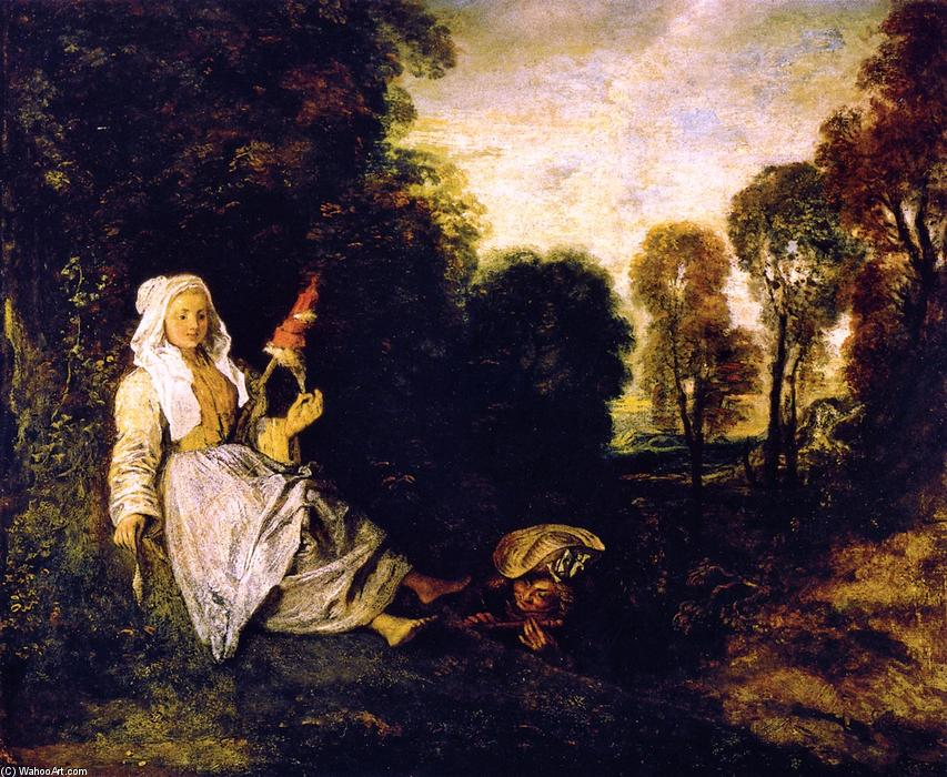 The Indiscreet Man, 1716 by Jean Antoine Watteau (1684-1721, France) | Museum Quality Reproductions | WahooArt.com