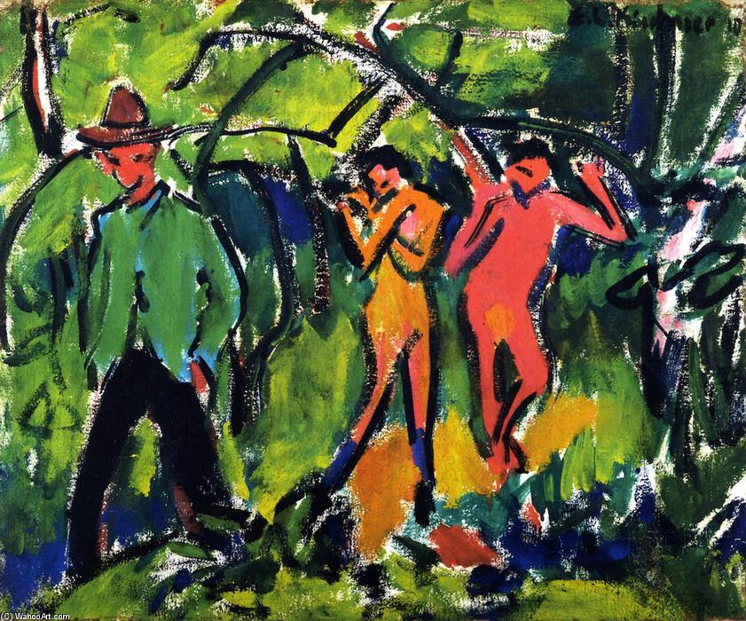 In the Forest, Oil On Panel by Ernst Ludwig Kirchner (1880-1938, Germany)