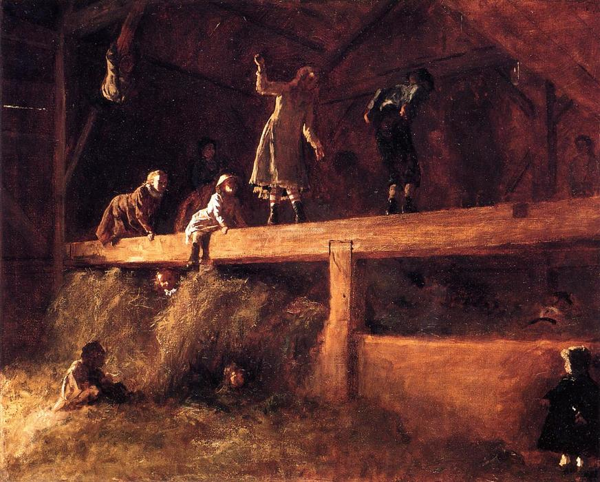 In the Hayloft, Oil On Canvas by Jonathan Eastman Johnson (1824-1906, United Kingdom)