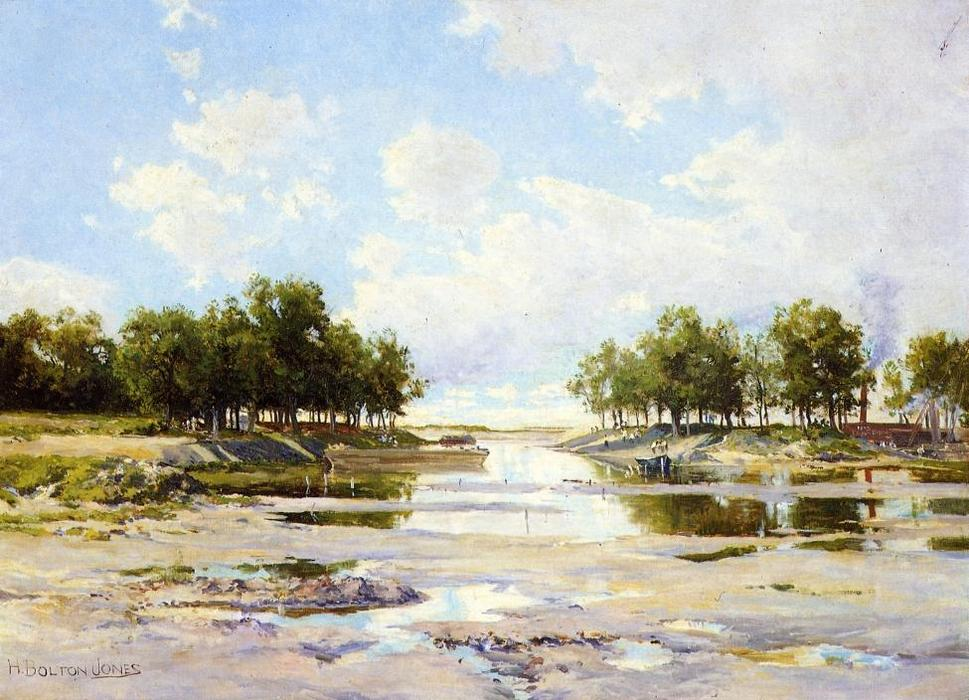 Inlet at Low Tide by Hugh Bolton Jones (1848-1927) | Oil Painting | WahooArt.com
