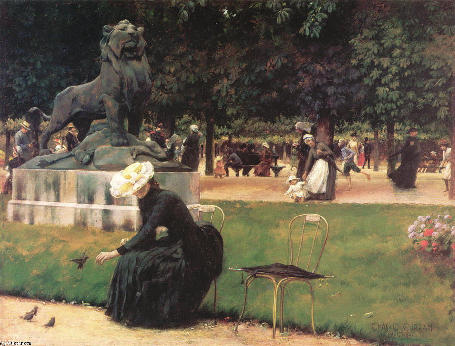 Order Paintings Reproductions | In the Luxembourg Garden, 1889 by Charles Courtney Curran (1861-1942, United States) | WahooArt.com