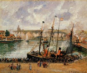 Camille Pissarro - The Inner Harbor, Dieppe: High Tide, Morning, Grey Weather