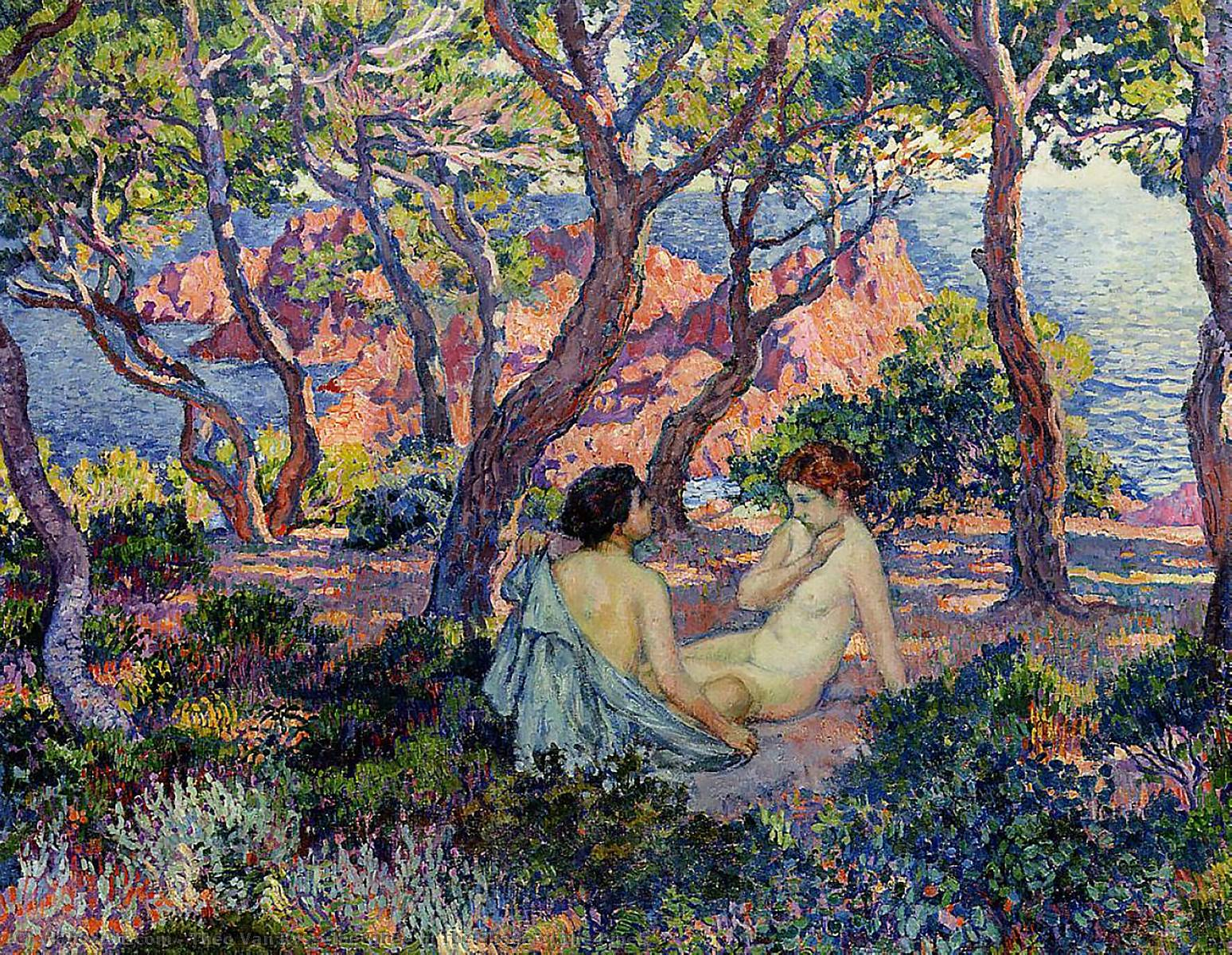 In the Shade of the Pines, Oil On Canvas by Theo Van Rysselberghe (1862-1926, Belgium)