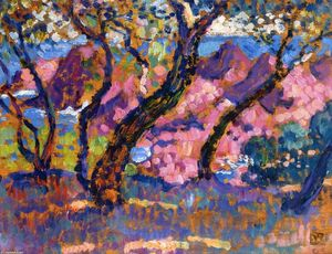 Theo Van Rysselberghe - In the Shade of the Pines (study)