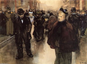 Order Famous Paintings Reproductions : In Street In Den Haag by Pieter Florentius Nicolaas Jacobus Arntzenius (1864-1925, Indonesia) | WahooArt.com