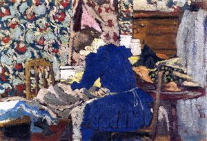 Jean Edouard Vuillard - Interior (also known as Marie Leaning over Her Work)