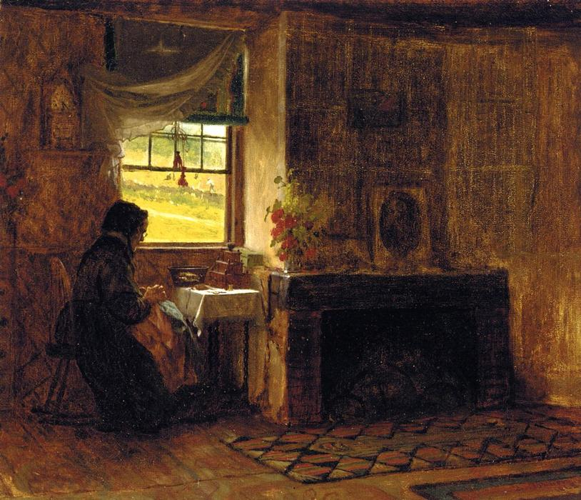 Interior of a Farm House in Maine, Oil On Canvas by Jonathan Eastman Johnson (1824-1906, United Kingdom)