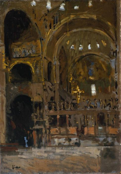 Interior of St Mark`s, Venice, 1895 by Walter Richard Sickert (1860-1942, Germany) | Museum Quality Copies Walter Richard Sickert | WahooArt.com