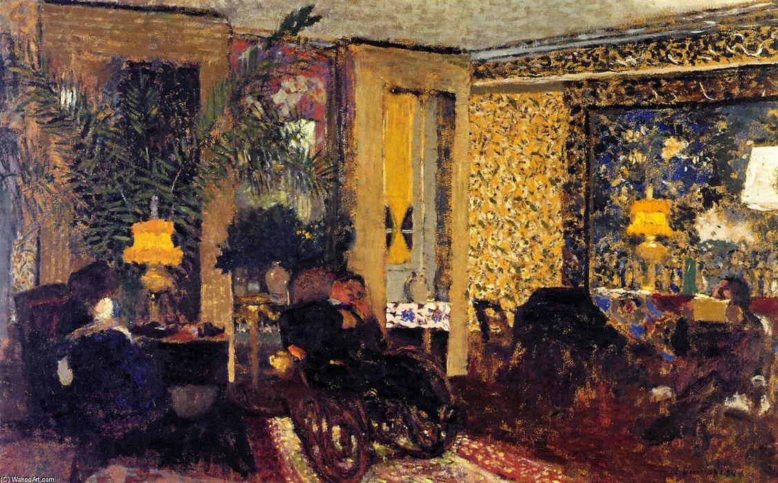 Interior, The Salon with Three Lamps, Rue Saint-Florentin, Frescoes by Jean Edouard Vuillard (1868-1940, France)
