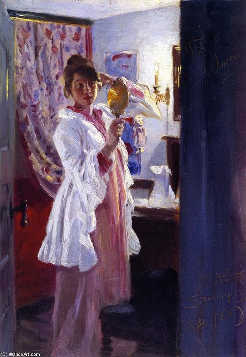 Interior with the Artist's Wife, Oil On Canvas by Peder Severin Kroyer (1851-1909, Norway)