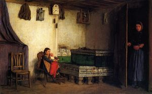Albert Samuel Anker - An Interior with Mother and Children