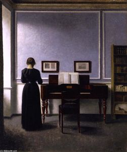 Vilhelm (Hammershøi)Hammershoi - Interior: with Piano and Woman in Black