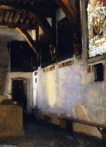 John Singer Sargent - Interior with Stained-Glass Window