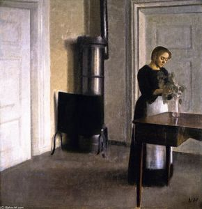 Vilhelm (Hammershøi)Hammershoi - Interior with Woman Putting Twigs in a Glass, Strandgade 30