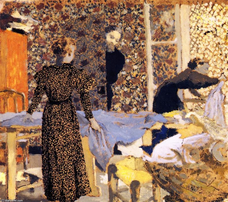 Interior with Work Table (also known as The Suitor), Oil On Panel by Jean Edouard Vuillard (1868-1940, France)