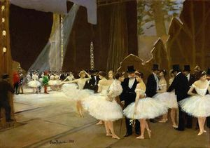 Jean Georges Béraud - In the Wings at the Opera House