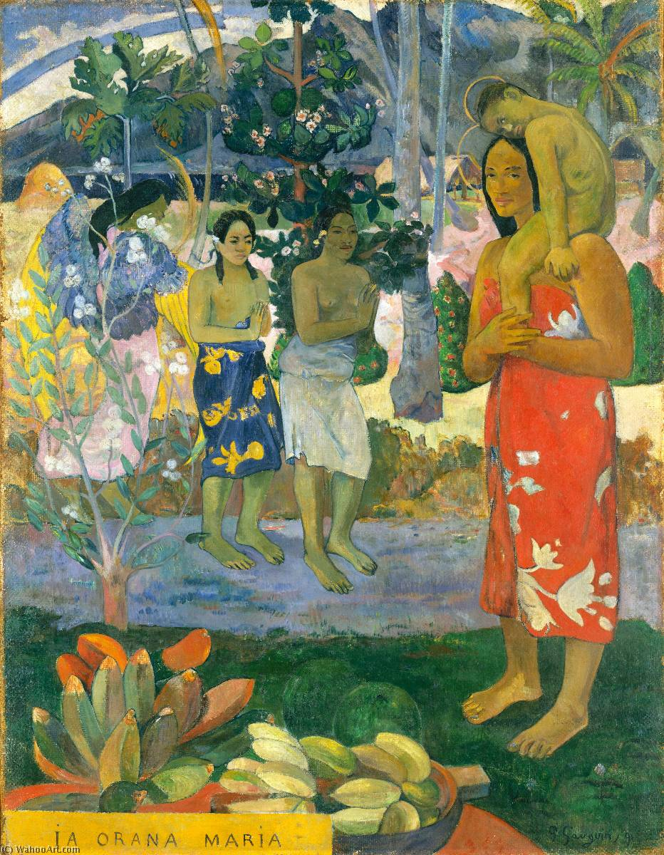Ia Orana Maria (also known as Hail Mary), 1891 by Paul Gauguin (1848-1903, France) | Painting Copy | WahooArt.com