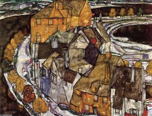 Egon Schiele - Island Town (also known as Krumau Town Crescent II)