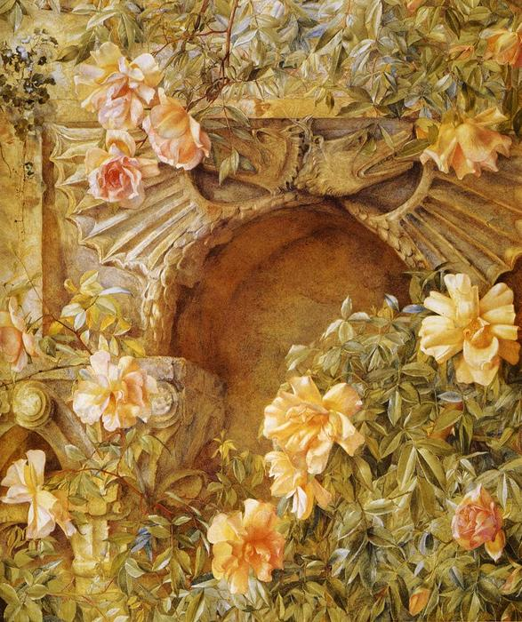 Italian Grotto (also known as Roses and Dragons), 1886 by Henry Roderick Newman (1833-1918, United States) | Art Reproductions Henry Roderick Newman | WahooArt.com