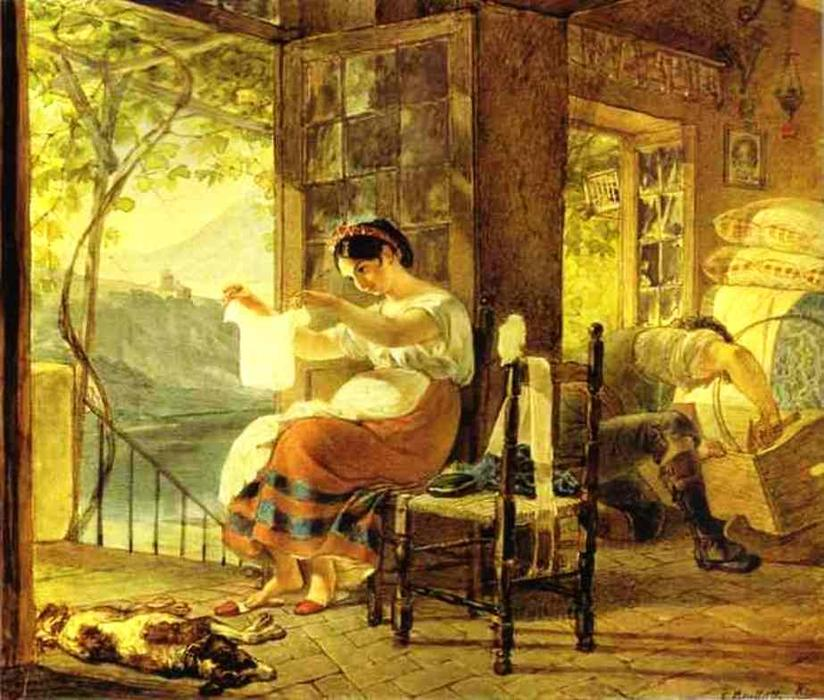 Italian Woman Heavy with a Child Examining a Shirt and her Husband Making a Cradle, 1831 by Karl Pavlovich Brulloff | Famous Paintings Reproductions | WahooArt.com