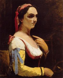 Jean Baptiste Camille Corot - Italian Woman with a Yellow