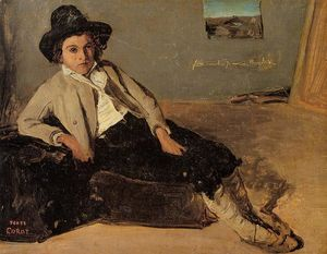 Jean Baptiste Camille Corot - Italian Youth Sitting in Corot-s Room in Room