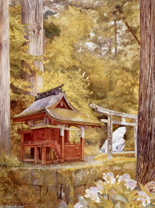 Japanese Pagoda in the Woods, 1897 by Henry Roderick Newman (1833-1918, United States) | Famous Paintings Reproductions | WahooArt.com