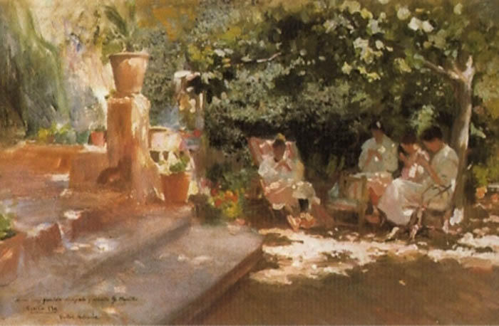 Jardin con Metas, Oil On Canvas by Cecilio Pla Y Gallardo (1860-1934, Spain)