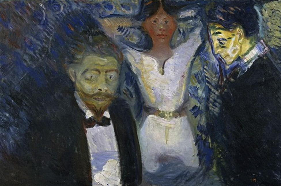 Jealousy, 1913 by Edvard Munch (1863-1944, Sweden) | Paintings Reproductions Edvard Munch | WahooArt.com